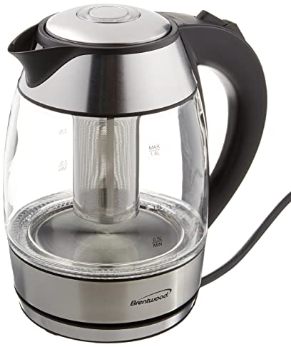 BRENTWOOD KT-1960BK Borosilicate Glass Tea Kettle with Tea Infuser Kettles at amazon