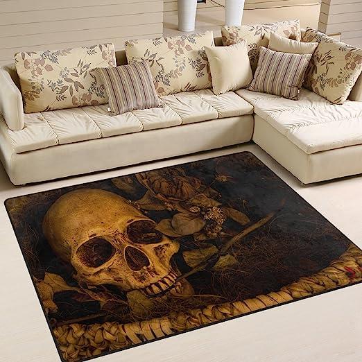 Amazon Com Alaza Vintage Horrible Skull Area Rug Rugs Mat For Living Room Bedroom 7 X5 Home Kitchen