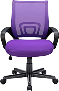 OFIKA 300LBS Office Chair Ergonomic Desk Chair, Adjustable Task Chair for Lumbar Back Support, Mesh Computer Chair, Rolling Swivel and Armrest, Modern Executive Home Office Desk Chairs (Purple)