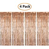 Shiny Metallic Foil Fringe Curtain Rose Gold Door & Window Curtain Party Decoration Champagne Themed Bridal Shower Supplies (3 ft X 6 ft) (4 pack)
