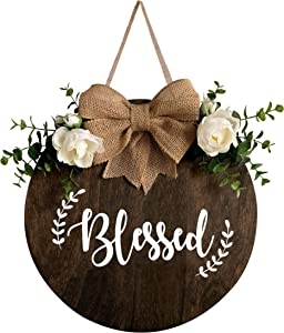 MayAvenue Blessed Wreaths Decor Sign Front Door, Round Wood Hanging Sign with Ribbon Bow and Artificial Green Leaves, Farmhouse Porch Decorations for Home Thanksgiving, Brown