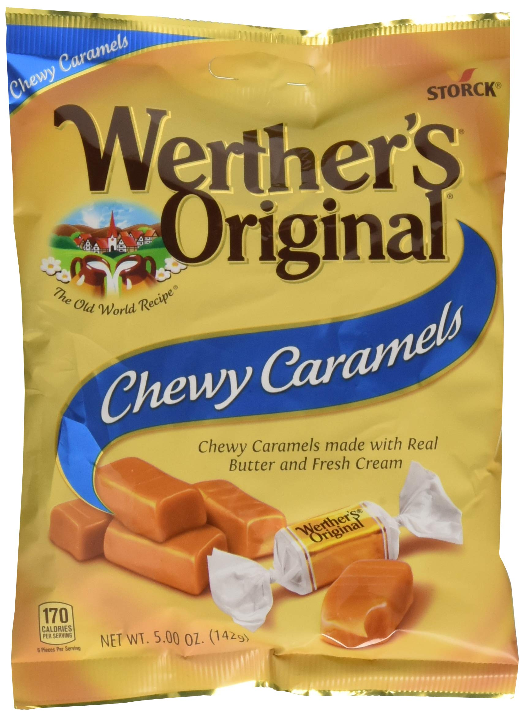WERTHER'S ORIGINAL Chewy Caramels, 5.0 Ounce Bags (Pack of 12), Bulk Candy, Individually Wrapped Candy Caramels, Caramel Candy Sweets, Bag of Candy by Werther's (Image #1)