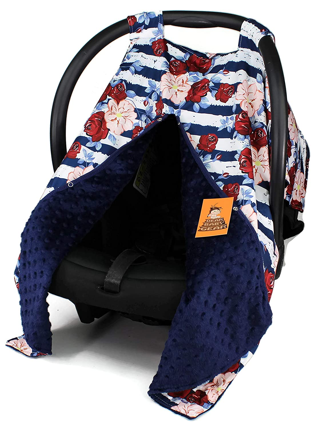 Dear Baby Gear Baby Car Seat Canopy Cover, Red Roses, Blush Hibiscus and Navy White Stripes, Navy Minky