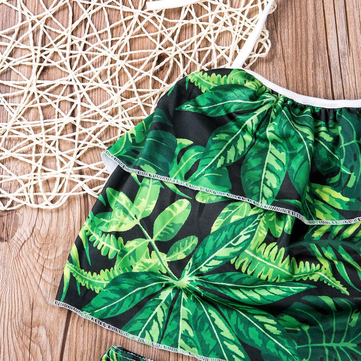 Swinsuit for Women and Girl Family Matching Two-Pieces Ruffle Pleated Halter Neck High Waist Swimsuit Beach Wear Bikini Set
