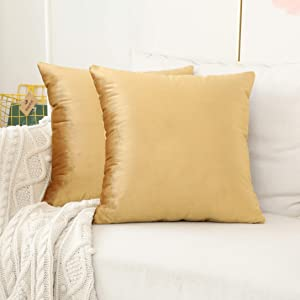 Home Brilliant Velvet Euro Shams Square Large Fall Throw Pillow Covers Decorative Pillowcases for Bed Sofa Couch Office Car, Set of 2, 24 x 24 inches(60cm), Gold