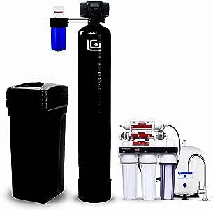 LiquaGen - Kit completo de filtración de agua para el hogar (descalcificador de agua con válvula de control Fleck + ...
