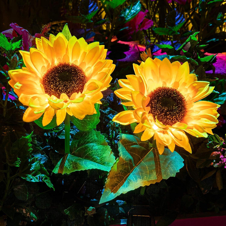 Solar Lights Outdoor Decorative,2 Pack Beautiful Sunflower Garden Lights Solar Powered Garden Decor Yard Stake, Fairy Landscape Flower Lights for Pathway Patio Yard Decoration