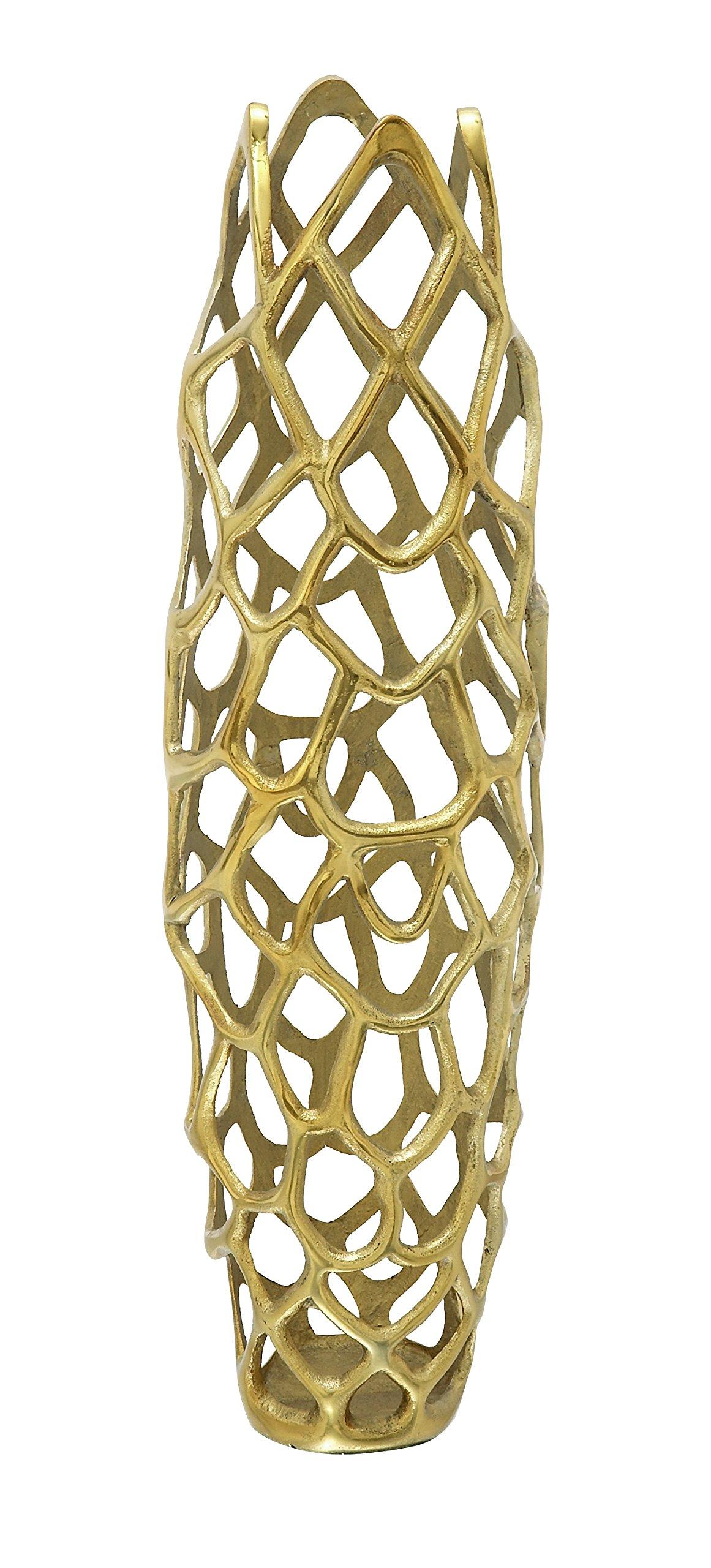 Deco 79 37662 Aluminium Decorative Gld Vase 9''W, 31''H -