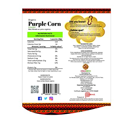 Inkaseed Organic Purple Corn (Maiz Morado) Powder 8.82 oz (250 g) Resealble Doypack Bag (1)