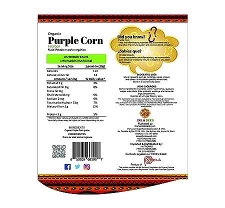 Inkaseed Organic Purple Corn (Maiz Morado) Powder 8.82 oz (250 g) Resealble Doypack Bag (1)