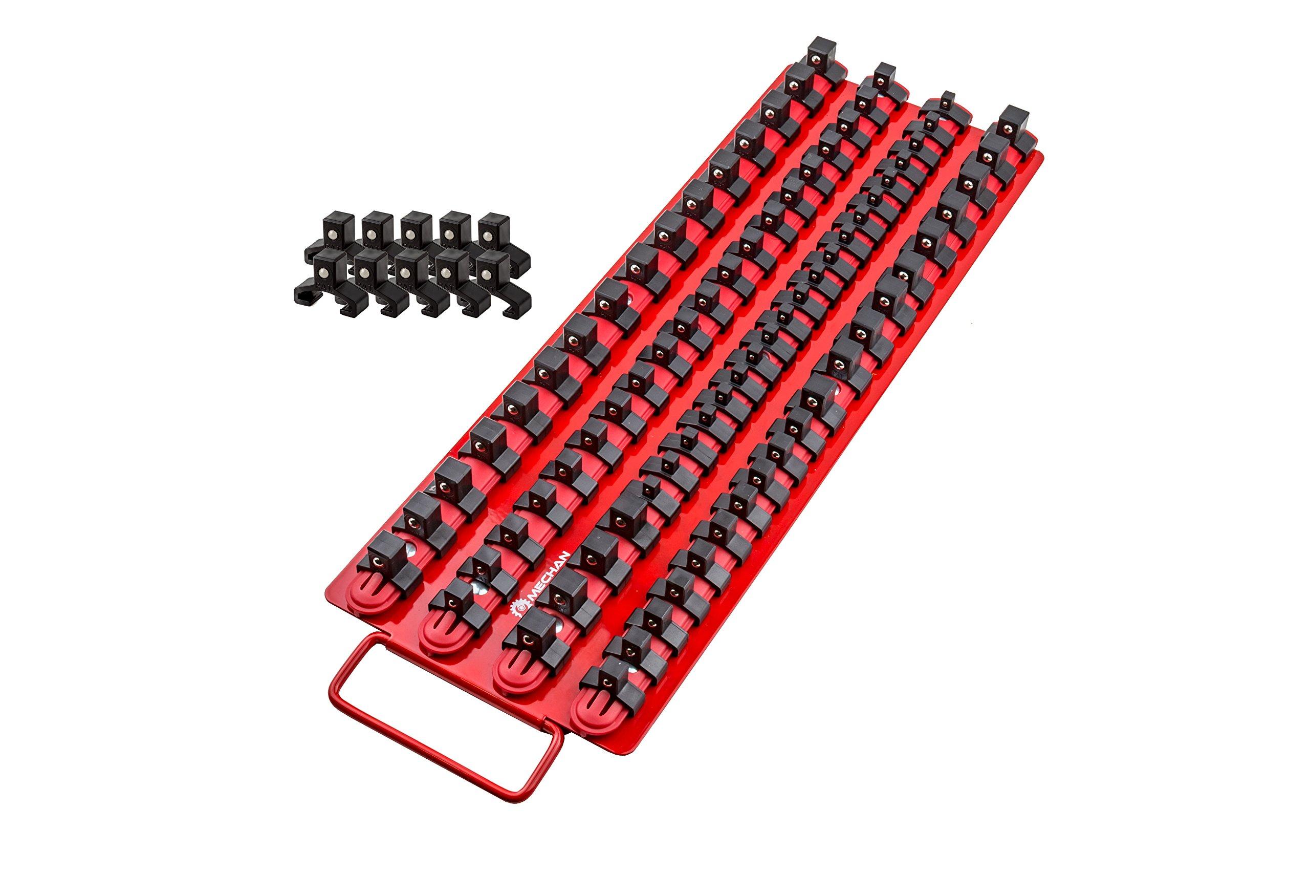 80pc Portable Socket Organizer Tray – Premium Socket Tray – Adjustable Socket Wrench Holder – Sturdy Socket Rails With Spring Loaded Ball Bearing Socket Clips For Tool Box Organization