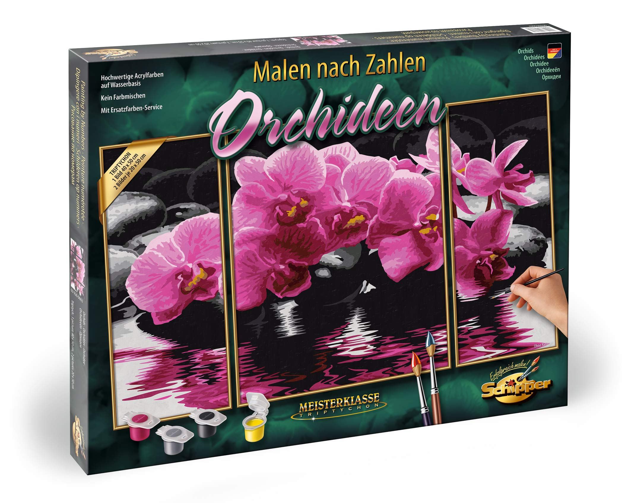 Schipper Adult Paint by Number: Tryptych Orchids Model Kit by Schipper