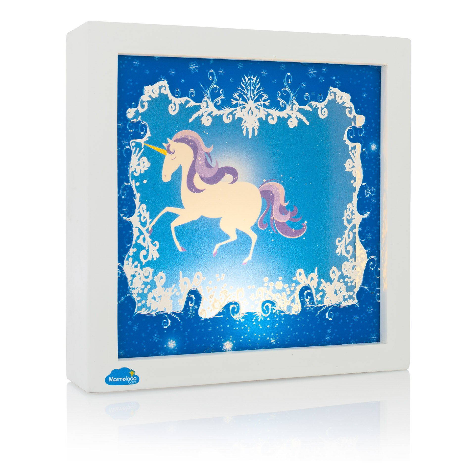 Night Light for Kids, Marmelada Lights, Story in a Frame Series 3D Unicorn legend, LED Bedside Kids, Baby, Children Night Lamp Bookshelf, Tabletop, or Wall Hanging, Battery operated 2 months runtime.