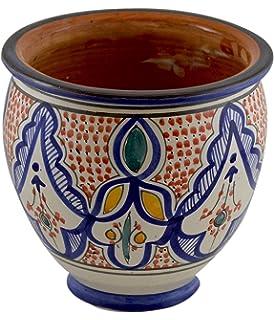Beautiful Flower Pot Moroccan Spanish Garden Drain Hole Ceramic Planter Handmade  Multicolored