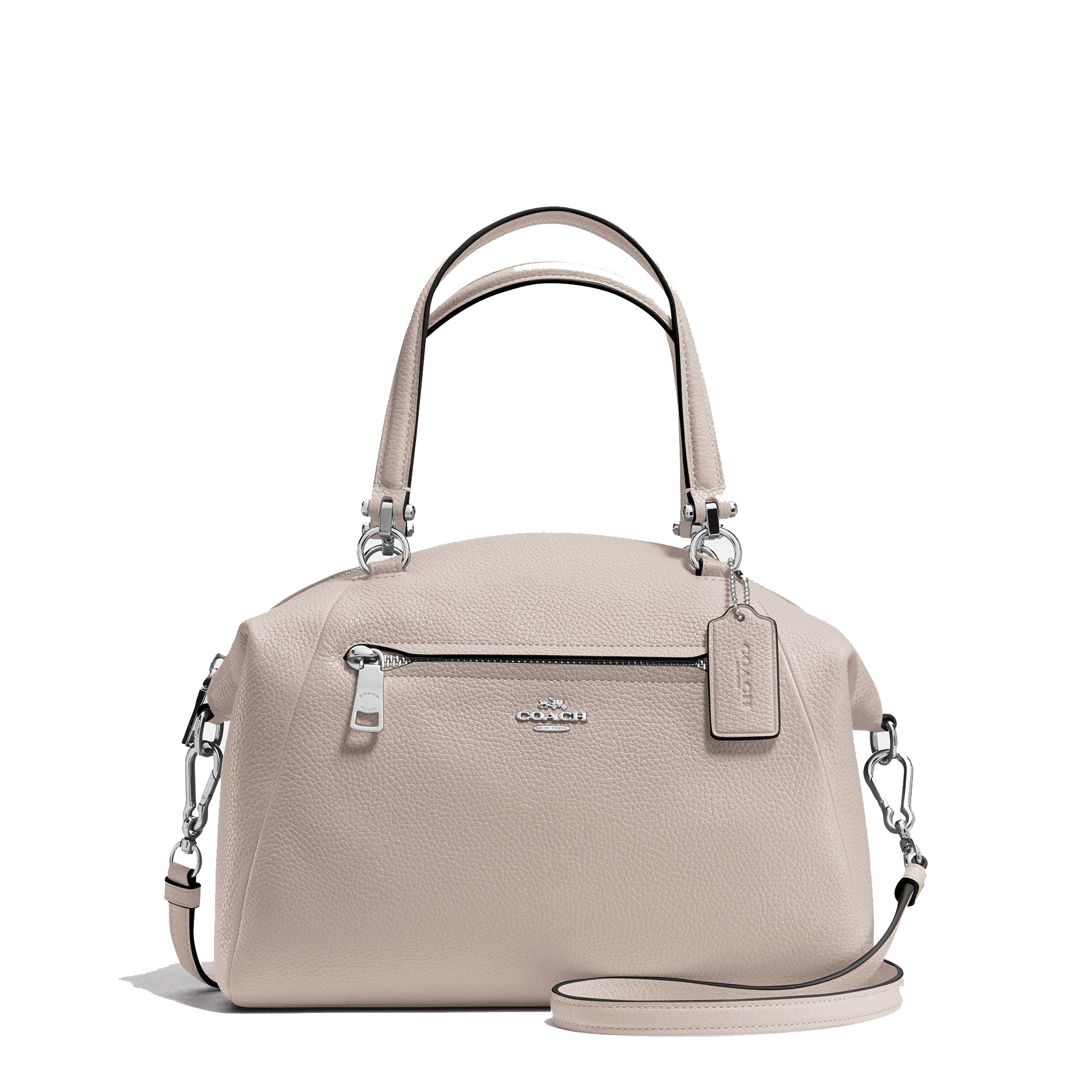Coach Prairie Satchel In Pebble Leather Silver/Grey Birch. Style 34340 SVC2J