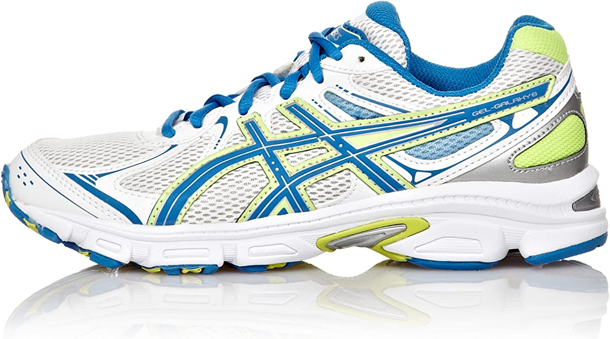 Asics Zapatillas Running Gel-Galaxy 6 GS Blanco/Azul/Amarillo 36: Amazon.es: Zapatos y complementos