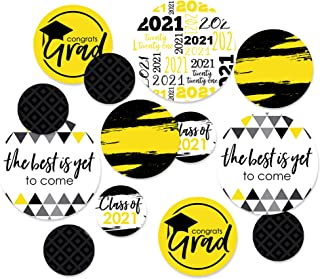 product image for Big Dot of Happiness Yellow Grad - Best is Yet to Come - 2021 Graduation Party Giant Circle Confetti - Yellow Grad Party Decorations - Large Confetti 27 Count