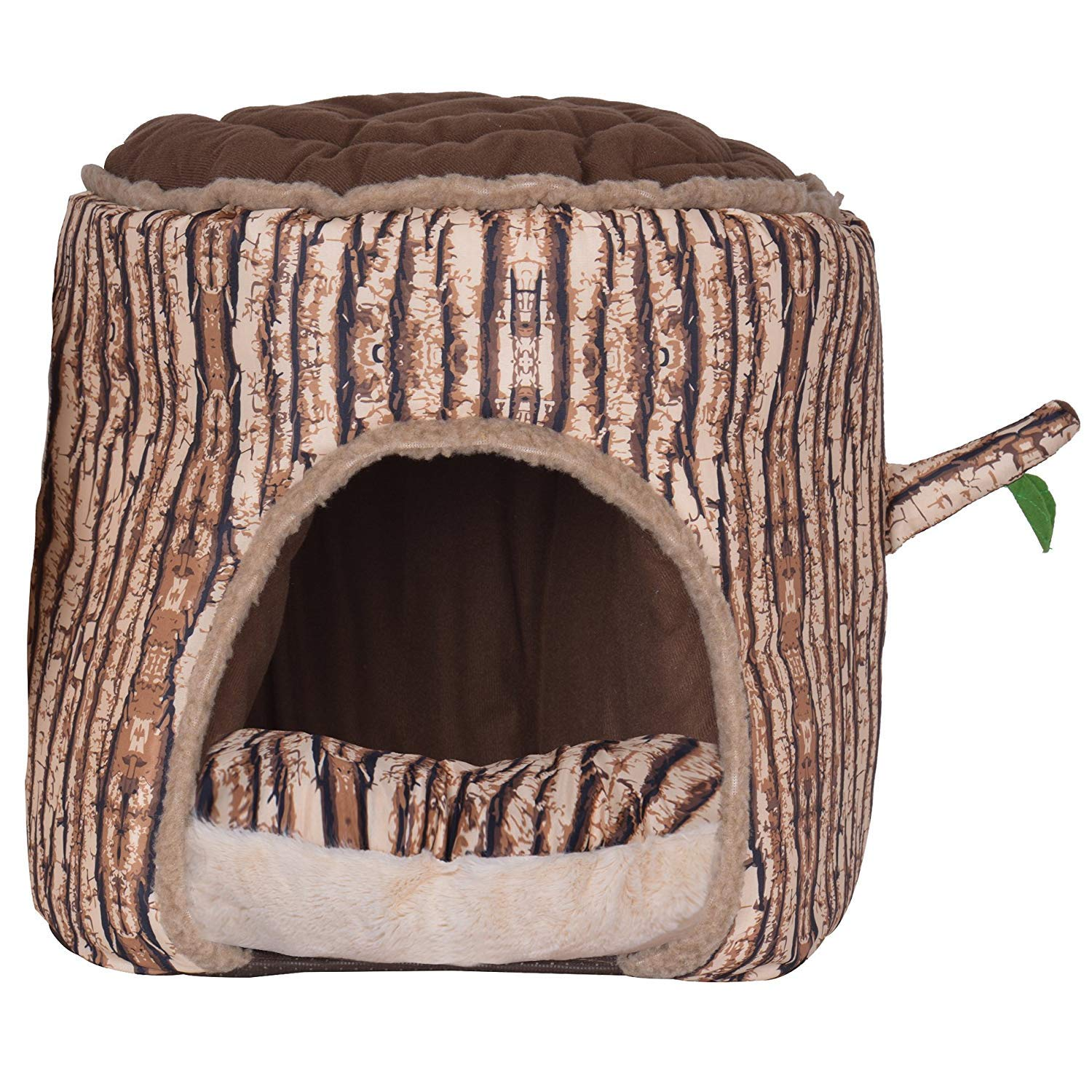 BINGPET Portable Soft Indoor Small Dog House with Removable Cushion Tree Shaped Bed for Puppy Cat