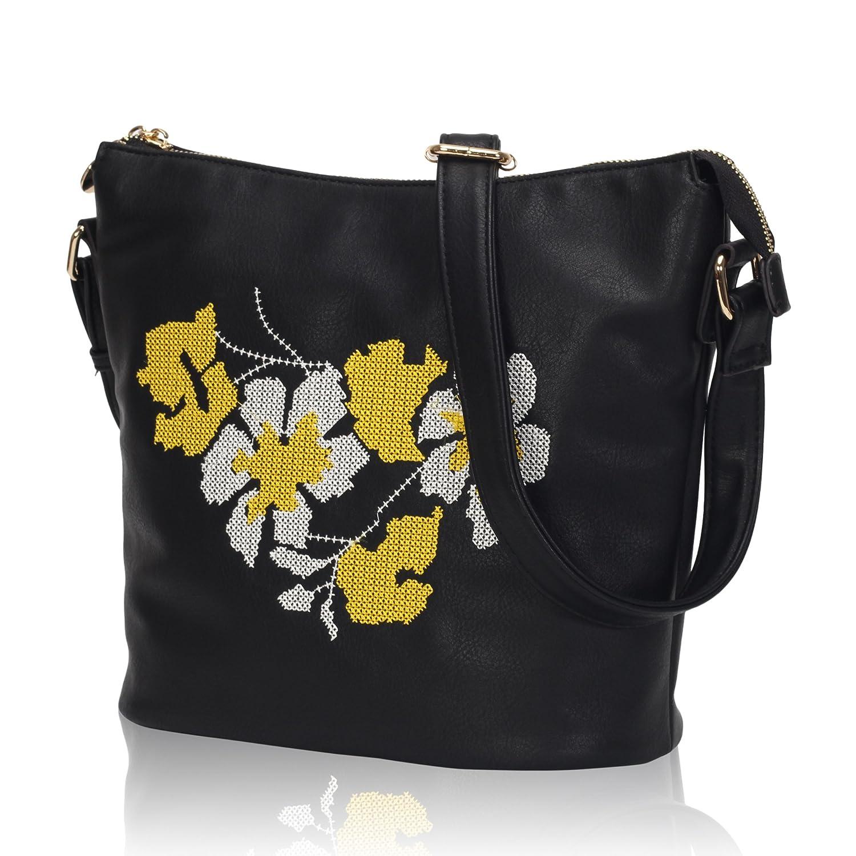Hazlmay Susanna Shoulder Bag Floral Embroidery Crossbody Bag for Girls