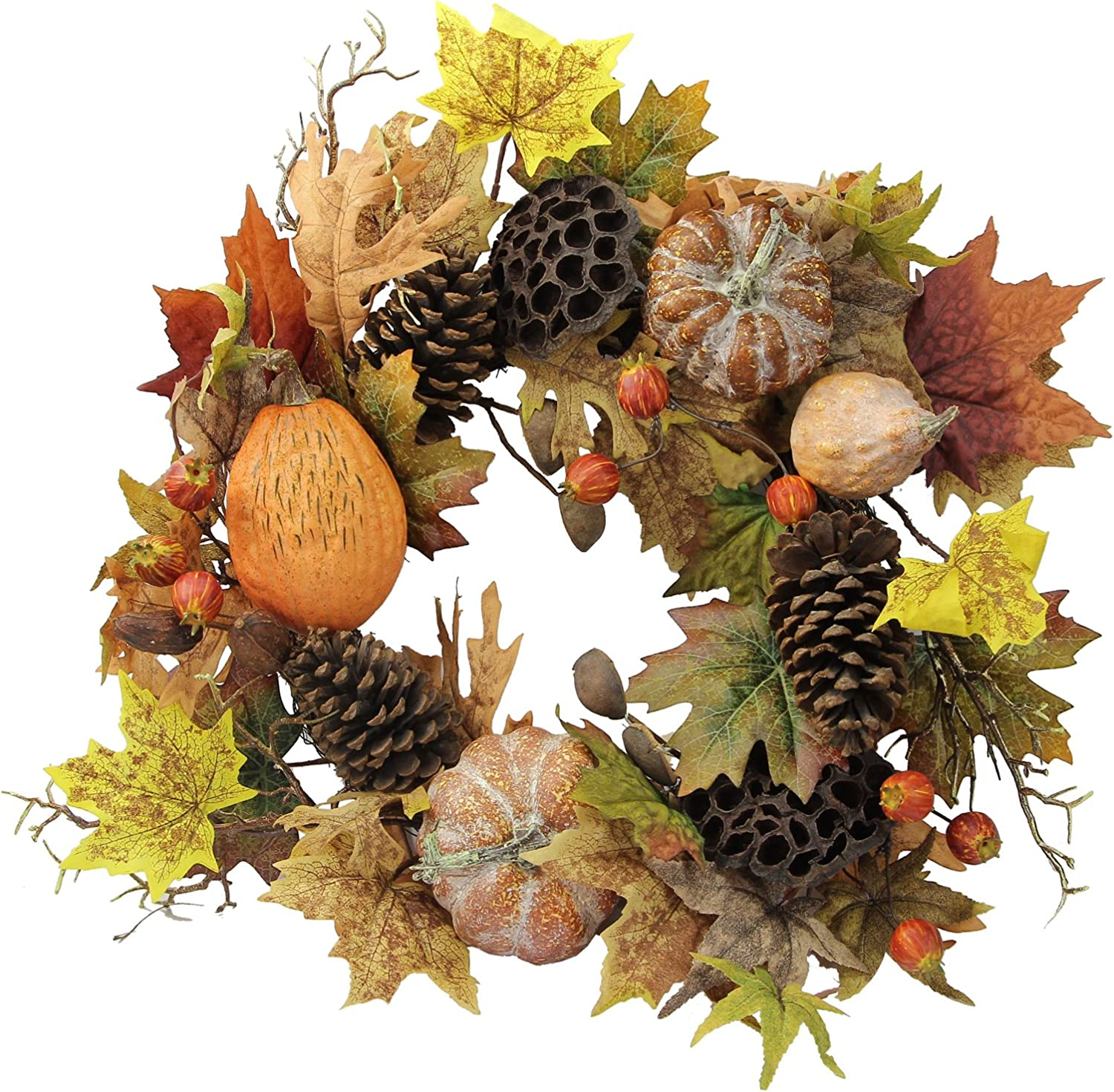 """Admired By Nature GFW6010-NATURAL Artificial Lotus Pod/Pumpkins/Pine Cone/Maple Leaves/Berries Fall Festive Harvest Display Wreath, 24"""", Autumn"""
