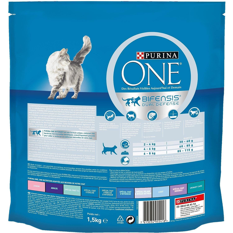 Purina One - Pienso para gatos adultos esterilizados de interior, de pollo y cereales integrales, 1,5 kg, paquete de 6: Amazon.es: Productos para mascotas