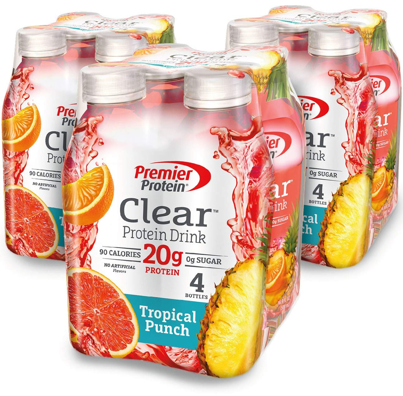 Premier Protein Clear Protein Drink, Tropical Punch, 16.9 fl oz Bottle, (12 Count) by Premier Protein