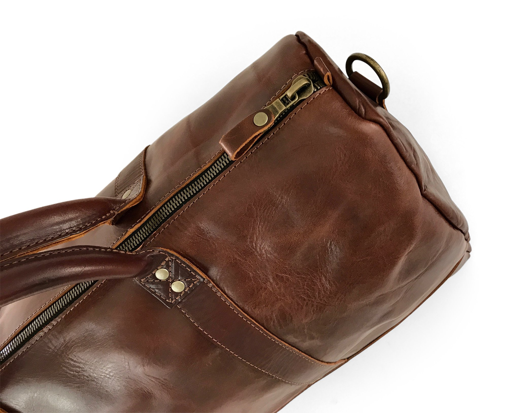 Vintage Full Grain Leather Duffle Bag & Weekend Carryall by Jackson Wayne (Vintage Brown) by Jackson Wayne (Image #6)