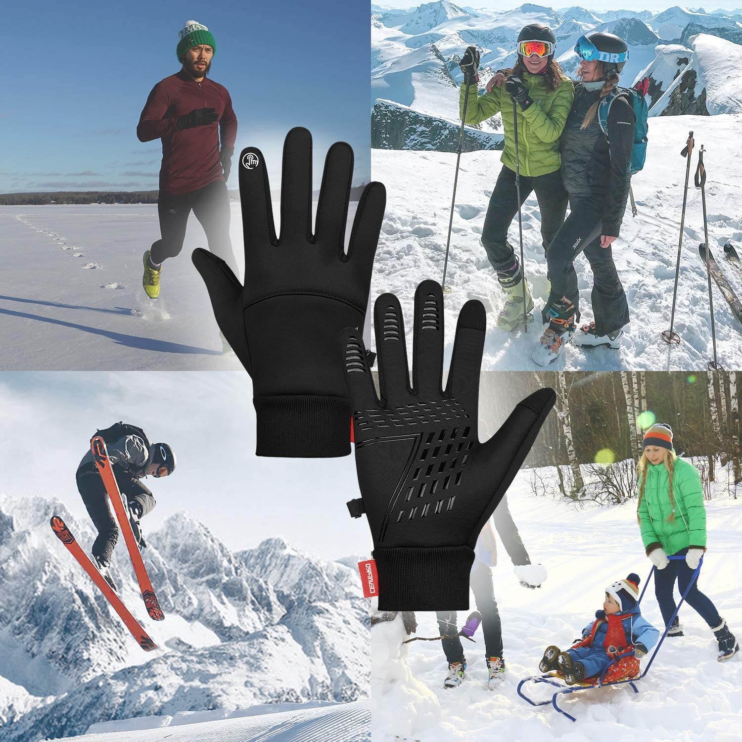 Cevapro Winter Gloves for Cycling Running Gloves Anti-slip Touch Screen Gloves/ Thermal Gloves for Women Men Driving Walking Dog Biking Sport Outdoor