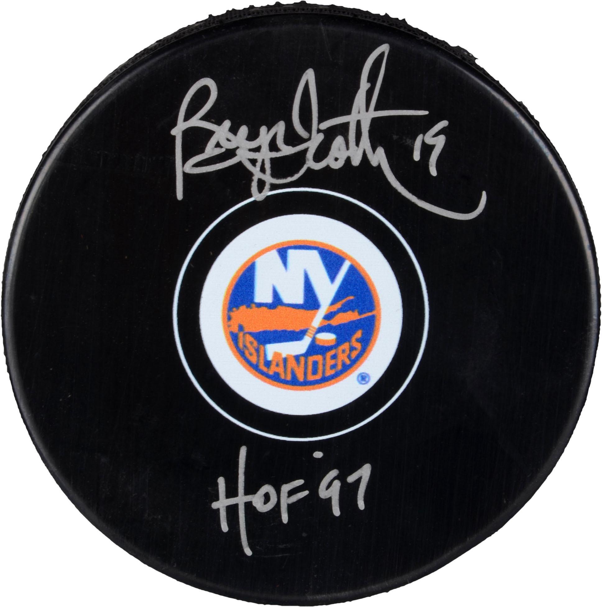 Bryan Trottier New York Islanders Autographed Hockey Puck with HOF 1997 Inscription Fanatics Authentic Certified