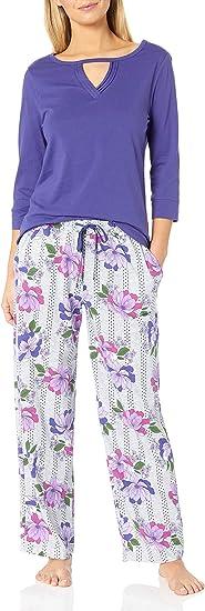 Karen Neuburger Womens Top and Bottom Pajama Set Pj with Sweat Wicking Technology