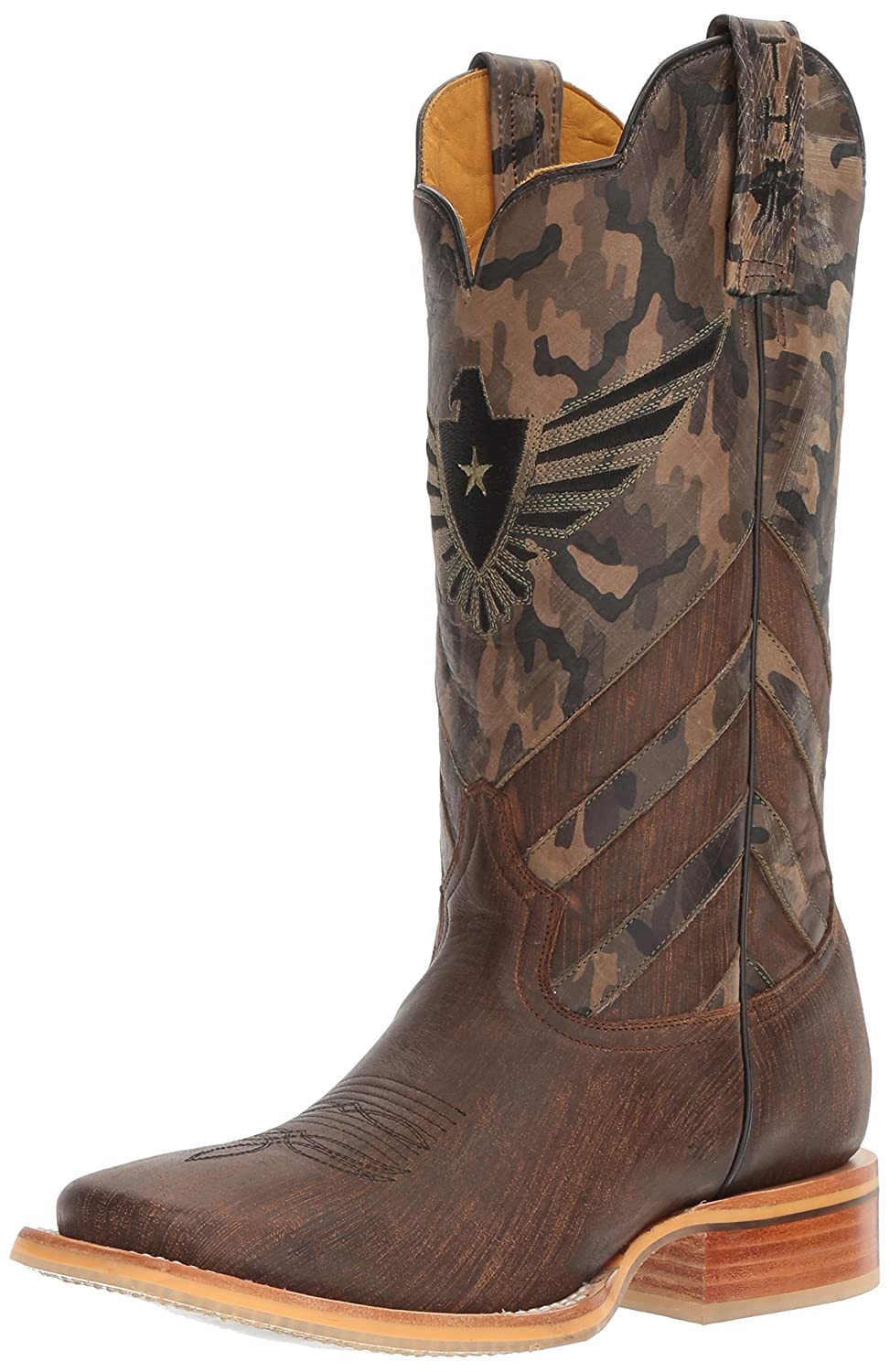 f1f63cac604 Tin Haul Men's Sergeant at Arms Screaming Eagle Cowboy Boot Wide Square Toe