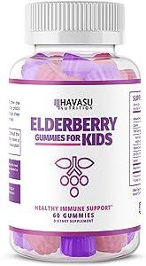 Havasu Nutrition Elderberry Gummies for Kids 50mg -Immune System Support - Cold Relief - Premium Natural Ingredients - NO Gelatin, NO Fructose Corn Syrup, Gluten Free -Natural Ingredients, 60 Gummies