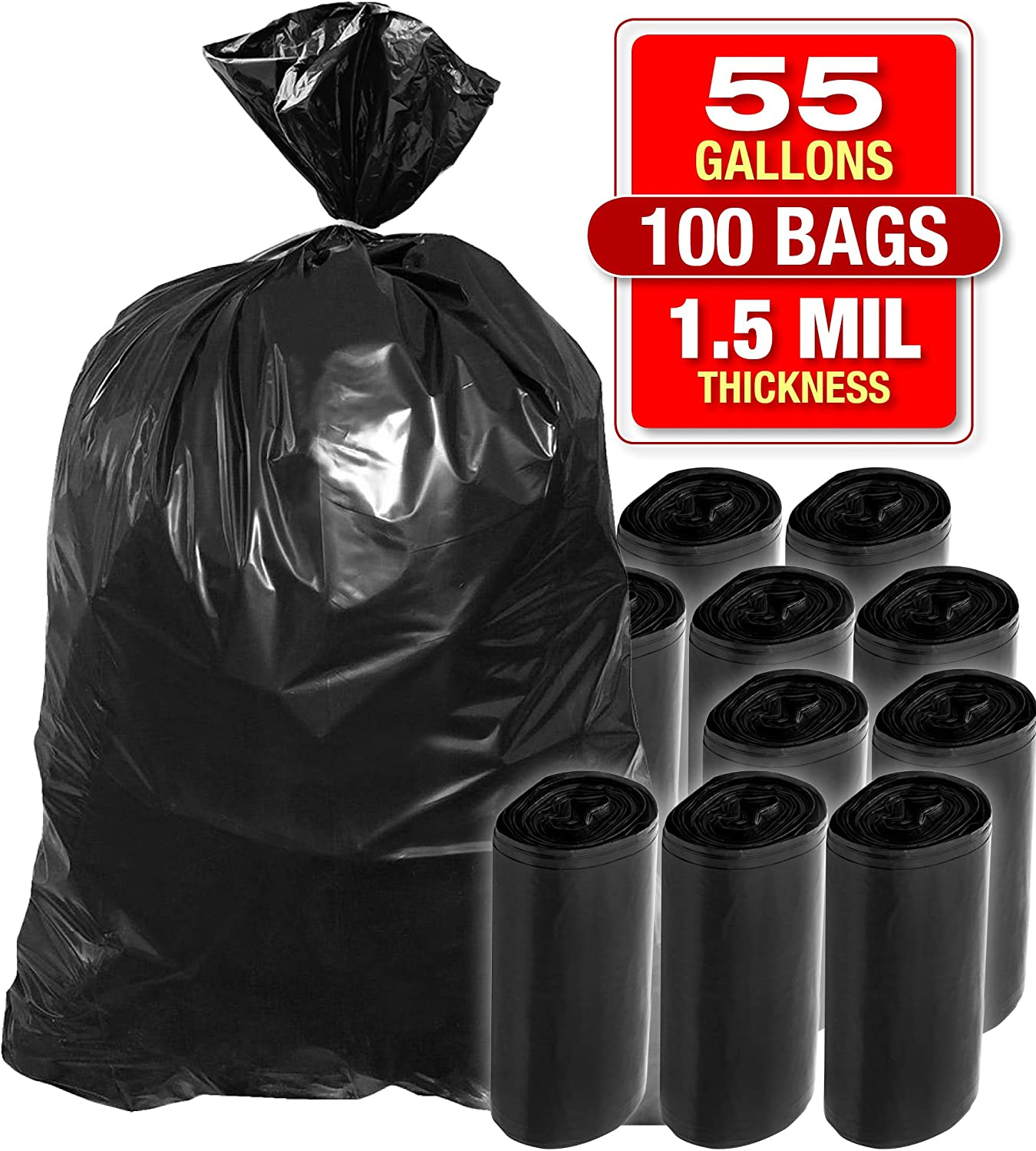 "55 Gallon 100 PK Heavy Duty Black Trash Bags - Bags for Garbage, Storage - 1.5 Mil Thick, 35""Wx55""H Industrial Grade Trash Bags for Construction, Yard Work, Commercial Use - by Tougher Goods"