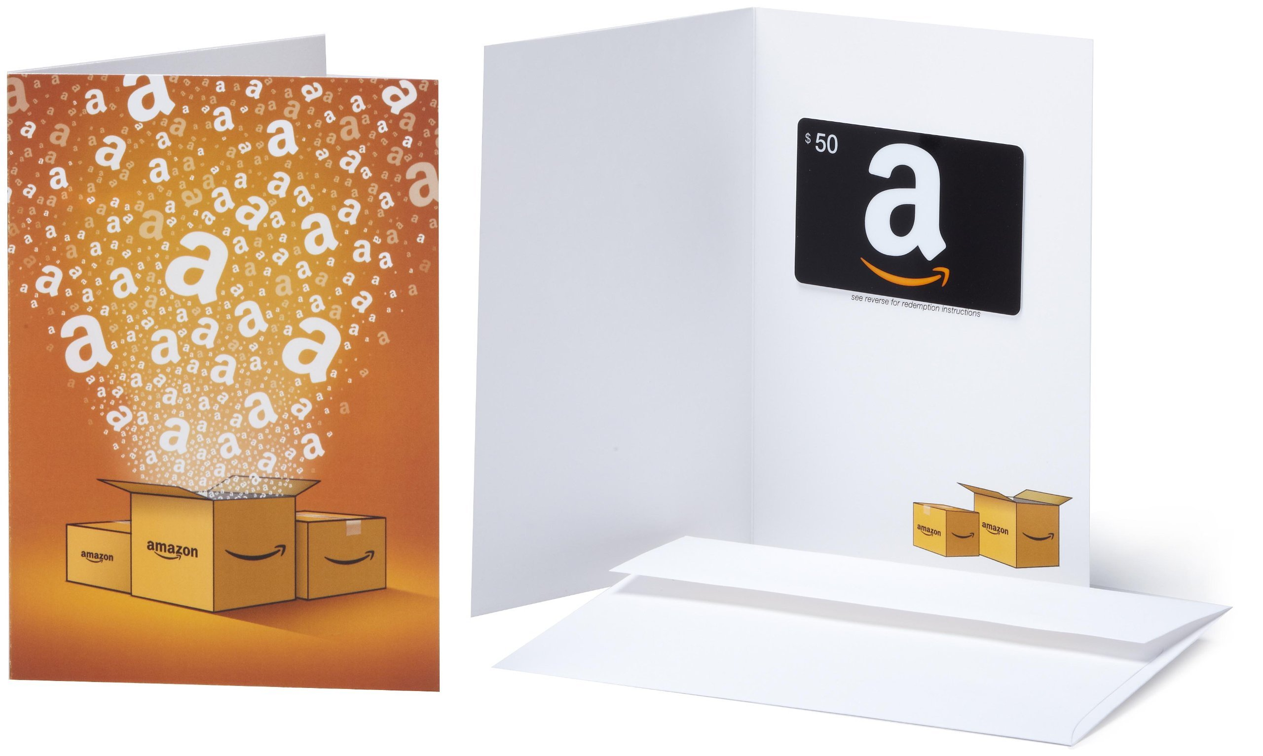 Amazon.com 50 Gift Card in a Greeting Card (Amazon Surprise Box Design)