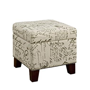 Dorel Living Blake Script Cube Storage Ottoman, Beige Pattern