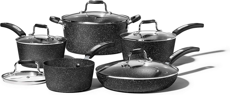 Starfrit Rock 10 Piece Cookware Set, Black