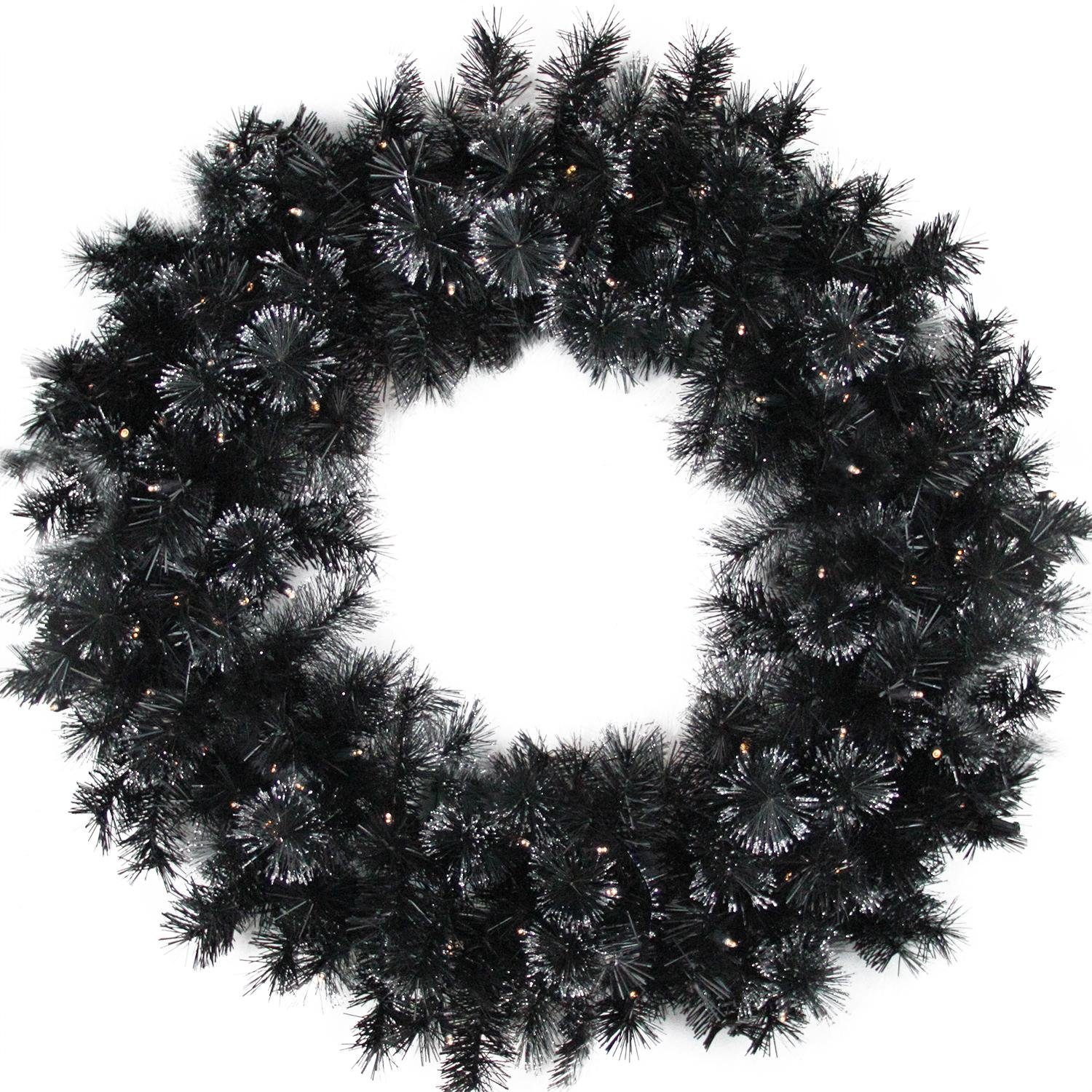 Northlight Battery Operated Black Bristle Artificial Christmas Wreath with Warm White LED Lights, 36''