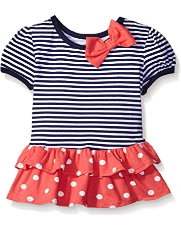 fb2da3d7474 Gerber Graduates Baby Girls  Short Sleeve Drop Waist Top with Hemmed Double  Ruffle