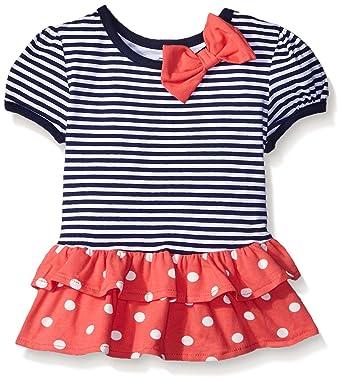 Baby Tops 6 Months Gerber Graduates Little Girls' Toddler Short Sleeve Drop Waist Top with Hemmed Double Ruffle, Navy Stripe, 3T