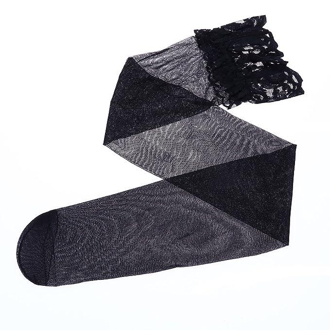 Tinksky Mujeres muslo de alta medias de seda Sheer calcetines con Filet Trimming para vestir Decoración