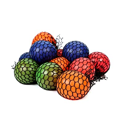 Fun Central BD108, 12 Pcs, 2.4 Inches Assorted Mesh Squishy Balls, Stress Balls, Squishy Toys for Kids, Sensory Toys, Soft Mini Balls, Squeeze Balls, Small Balls for Party Favors: Toys & Games [5Bkhe1100774]