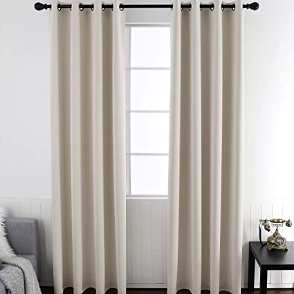 Light Beige Blackout Curtains, Room Darkening Thermal Insulated Curtains  and Drapes Smooth Thick Solid Grommets Window Treatments Curtains for ...