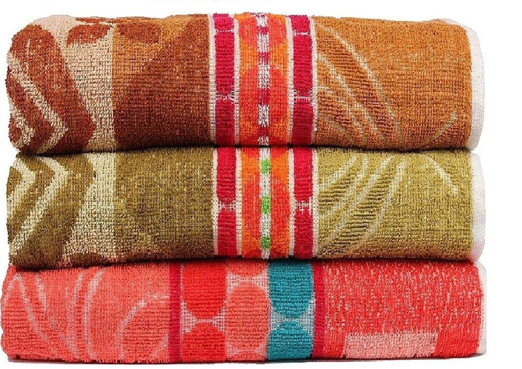 Casa Copenhag - Colourful Jacquard Designs 400 GSM (11.80oz/yd²) Cotton 27 x 54 inch 3 pack Bath Towels - Brown, Green & Yellow Casa Basics CJD03MB002
