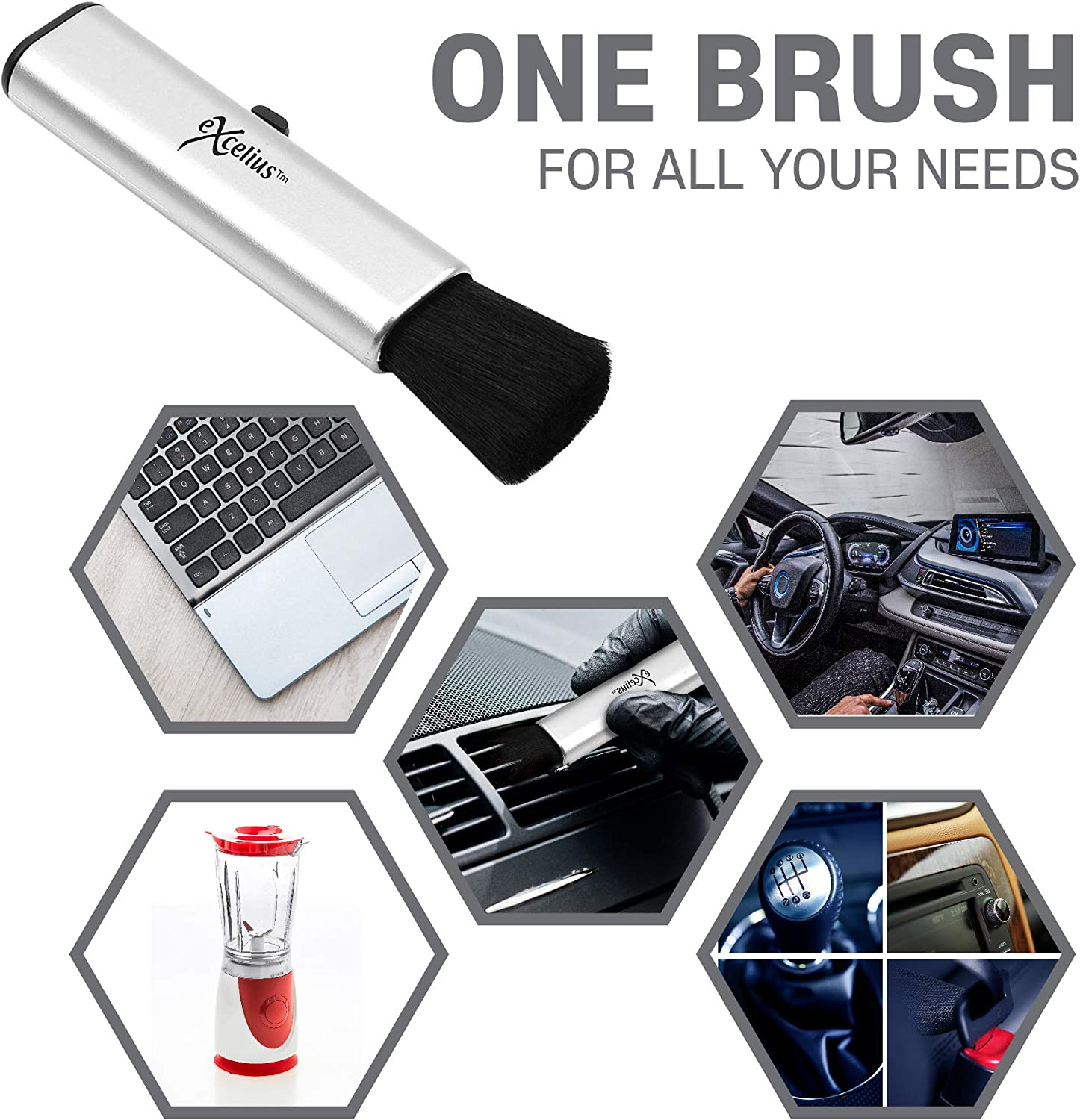 Portable Cleaning Brush Retractable Compact Duster for Computers Laptops Keyboards LCD Car Interior Detailing