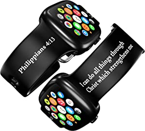 FaithSign 42-44 mm Apple Watch Compatible Band with Bible Verses - Philippians 4:13 Religious Print - Smart Watch Wristband for Men, Women - Breathable Strap for Fitness, Sport, Casual Wear - Black