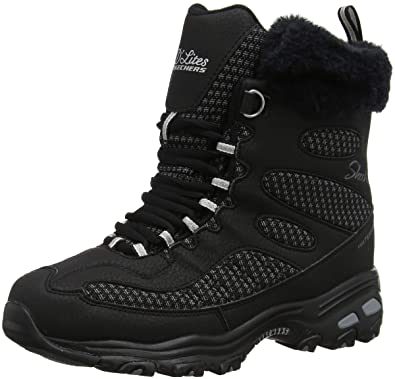 62c7bc952680c0 Skechers Women s D Lites - Bomb Cyclone. Short Lace Up Boot with Fur Collar