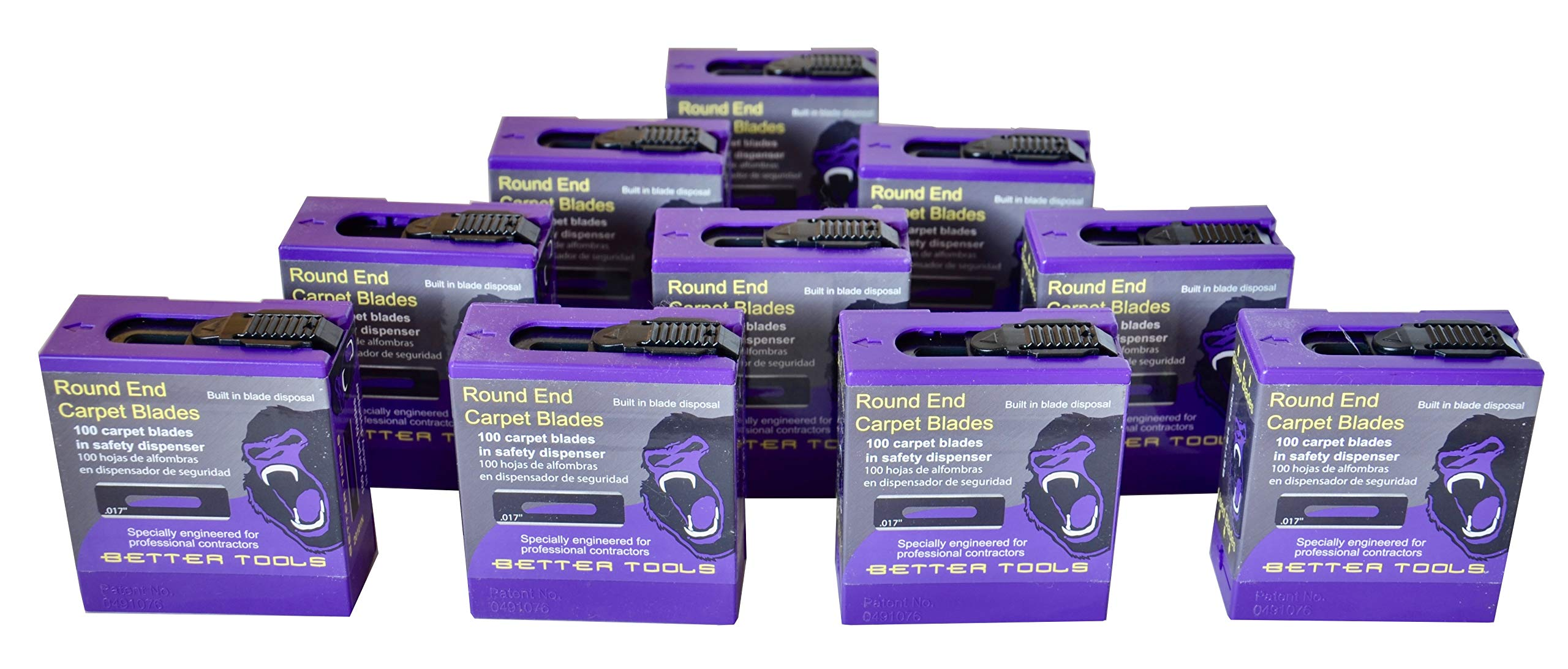 Carpet Blades - Round End Case (case of 10 Dispensers - 100 Blades/dispense) (10) by Better Tools