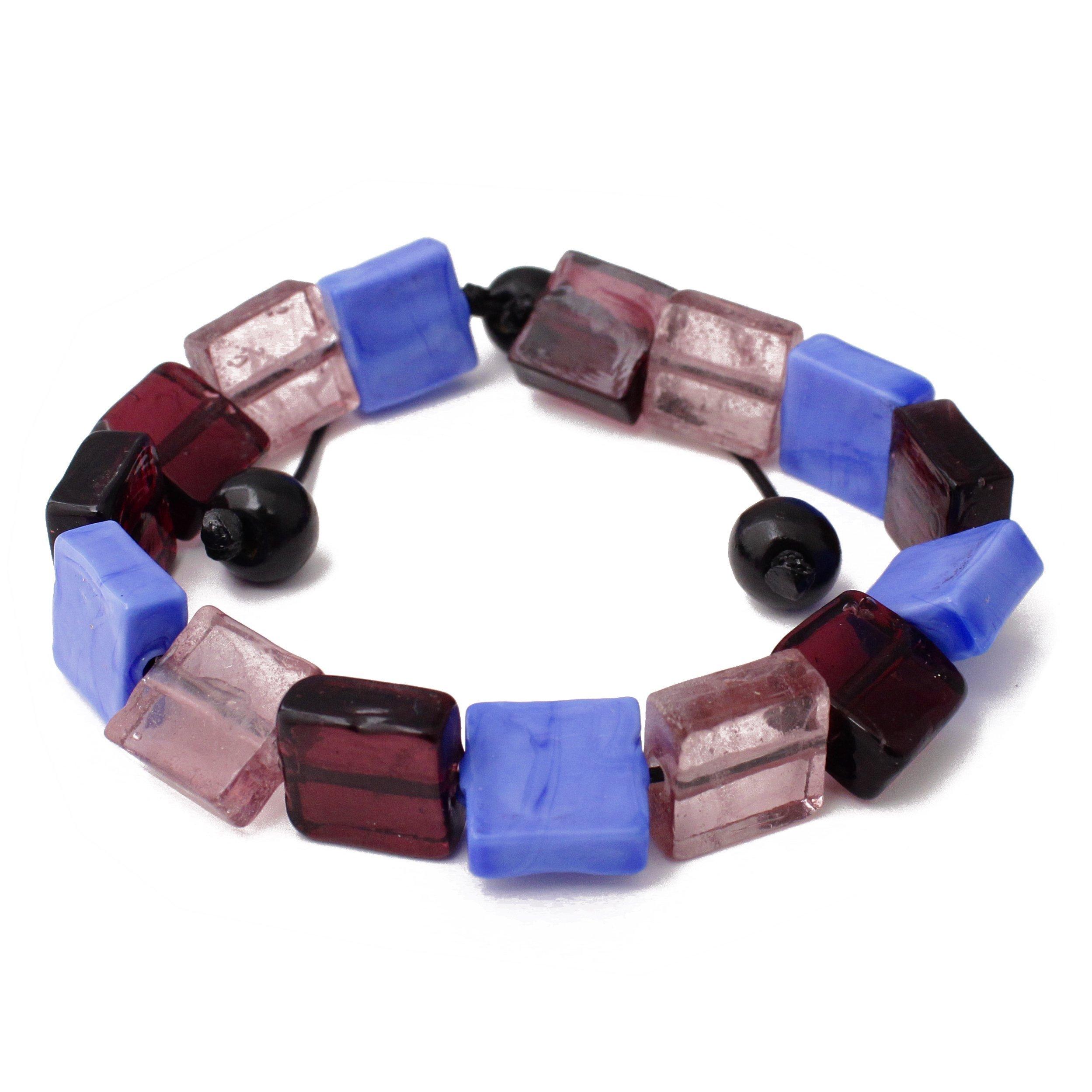 Perepaix RAVE Retro Burgandy Glass Beads Black Wax Cord Mens Bracelet