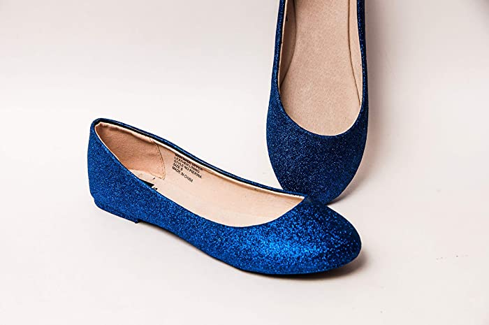 7c40b396cab Image Unavailable. Image not available for. Color  Women s Hand Glittered  Royal Blue Glitter Ballet Flats ...