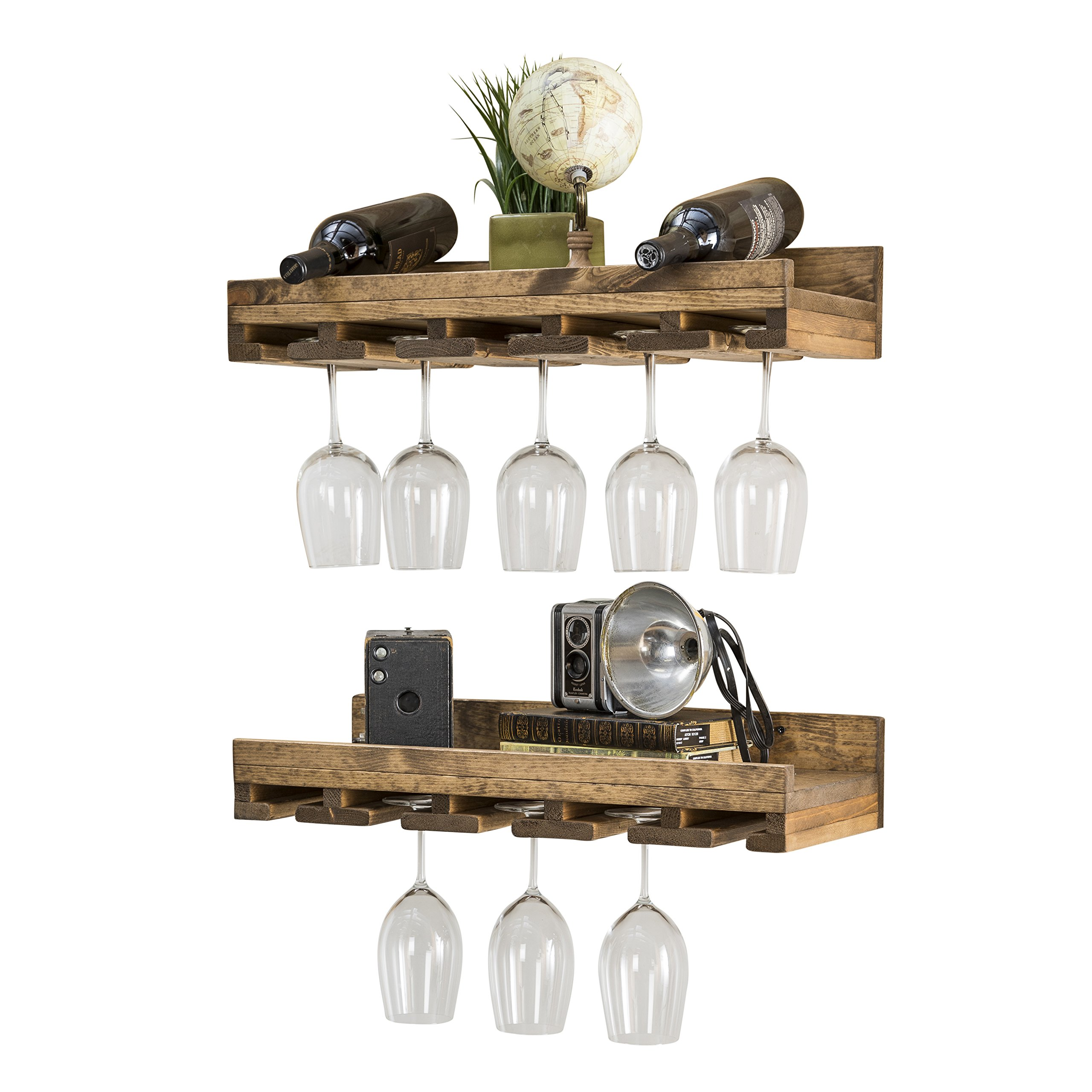 Rustic Luxe Tiered Glass Racks - del Hutson Designs, (Set of 2) Dark Walnut (2 Ft. / 24 Inch)